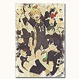 Anime Haikyuu High School Volleyball Toile murale Impression sur bois 61 x 91,4 cm Sans cadre Décoration d'intérieur