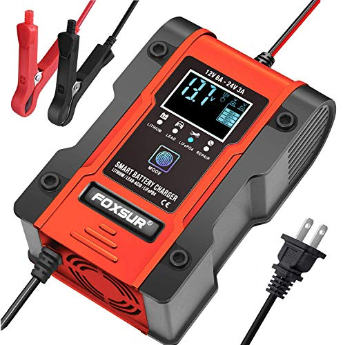 FOXSUR [New Upgrade] Lithium Battery Charger, 12V/24V 6Amp Full Automatic Intelligent Car Battery Charger(lithium batteries, lead-acid batteries, Calcium, etc)/Maintainer Delivers 7 Stage Charging-Red