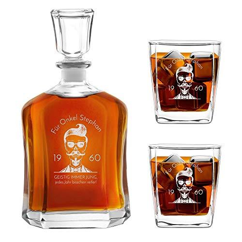 Murrano Whiskey Karaffe + 2er Whiskygläser Set mit Gravur - 700ml Whisky Dekanter - Geschenk zum Geburtstag für Männer - Onkel
