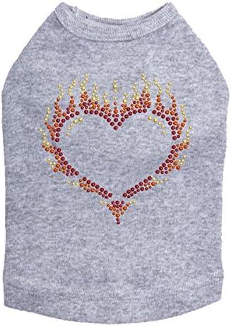 Flame Heart - Dog Gray shipfree L Ranking TOP2 Heather Shirt