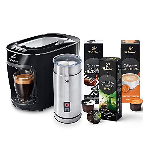 Tchibo Cafissimo mini Kapselmaschine (für Kaffee, Espresso und Caffè Crema) inkl. elektr. Milchaufschäumer aus Edelstahl und 30 Kapseln (Schwarz)