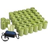 Qshape 1400 Unidades Bolsas Basura para Excrementos Caca Perro Mascotas Gatos con 1 Dispensador, Hierba Verde, 40 Rollos