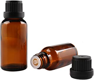6PCS 5ML Refillable Brown Glass Essential Oil Bottle Packing Bottle Deployment Container With Orifice Reducer And Black Plastic Caps for Trave