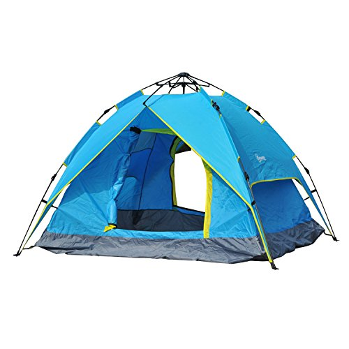 Outsunny Campingzelt Sekundenzelt Pop Up Zelt Strandzelt Automatisch 3-4 Personen (Blau+Gelb)