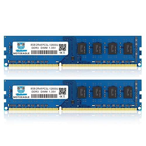 motoeagle 16GB Kit (8GBx2) DDR3 DDR3L 1600 MHz UDIMM RAM PC3 PC3L 12800U 8GB 1.35V/1.5V 240-Pin Non-ECC Unbuffered 2RX8 Memoria Desktop