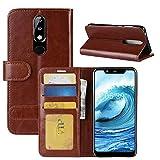 HualuBro Nokia 5.1 Plus Hülle, Retro PU Leder Leather Wallet HandyHülle Tasche Schutzhülle Flip Case Cover für Nokia 5.1 Plus/Nokia X5 Smartphone - Braun