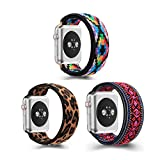 (3 Pack)ZEROFIRE Compatible with Apple Watch Elastics Band 38mm/40mm 42mm/44mm for Women Men Pattern Stretch Bands for iWatch Series 6/5/4/3/2/1, Double-layer Fashion Handmade Replacement Strap