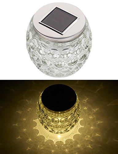 Lunartec Solar Tischlicht: Solar-LED-Windlicht aus Glas, mit tollem Lichtmuster, IP44, Ø 10 cm (LED-Solar-Tischlampen)