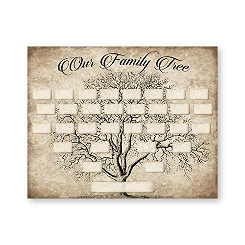 penbiubiu - Plantilla de impresión de árbol genealógico Vintage de 5 Generaciones, diseño de árbol Familiar, Lona, Ph5708, A4 21x30cm No Frame