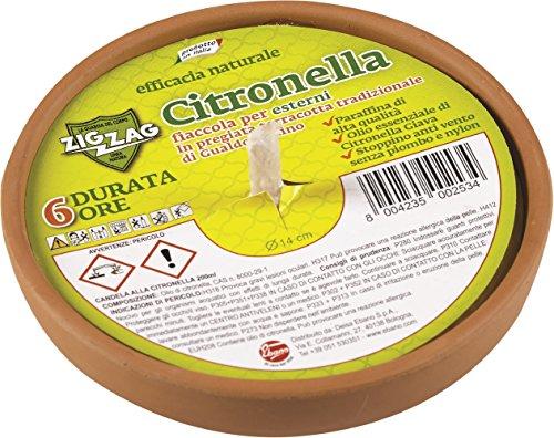 Zig Zag, Candela alla Citronella, Fiaccola in Terracotta, prodotto in Italia, Terracotta tradizionale di Gualdo Tadino, diametro 14 cm, durata 6 Ore