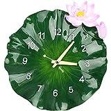 N/ A Gran Arte 3D Verde Loto Reloj de Pared Mudo idílico Cocina Reloj Reloj de Pared decoración del hogar