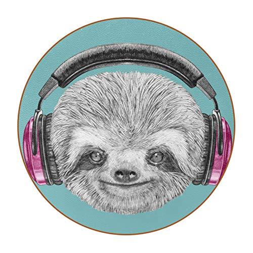 Bennigiry DJ Sloth Retrato con auriculares Divertido personaje moderno Cool Sonriente Posavasos redondos resistentes al calor taza taza taza taza taza de cristal, 6 piezas
