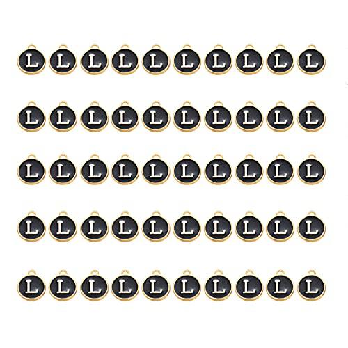 Ornaland 50 Uds., Colgante de Letras, Esmalte, Colgante de Alfabeto, Esmalte de Doble Cara con Agujero para Bricolaje, Pulsera, Encantos, Collar, Colgantes, Pendiente, Fabricación de Joyas