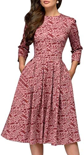 Simple Flavor Women s Floral Evening Flare Vintage Midi Dress 3 4 Sleeve Red L product image