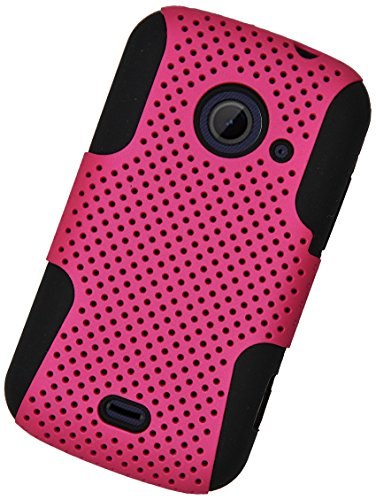 Eagle Cell Hybrid TPU Mesh Protective Case for ZTE Z667/Zinger/Prelude 2/Whirl 2 - Retail Packaging - Black/Hot Pink