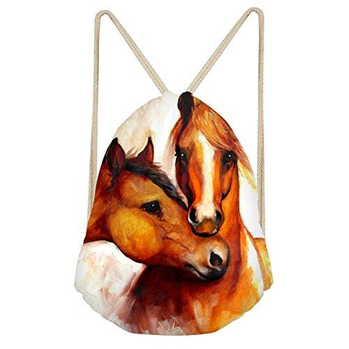 Mochila con cordón para gimnasio de Chaqlin, diseño de caballo (personalizable), hombre, S-CC6013Z3, Two horse head