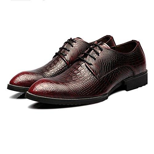 Elegante Herren Slipper mit Schnalle Herren Leder Schuhe Krokodilleder Textur Amphetamin Schnürung Atmungsaktiv Business Gefüttert Oxfords Mode Mokassin Hausschuhe (Color : Rot, Größe : 37 EU)