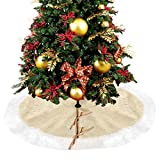 Weihnachtsbaum Decke Weihnachtsbaum Rock - Baum Mat Christbaumständer Rund Urlaub Neujahr Dekoration Luxus Weich Rüschen Weißes Fell Kante Groß 90cm/122cm