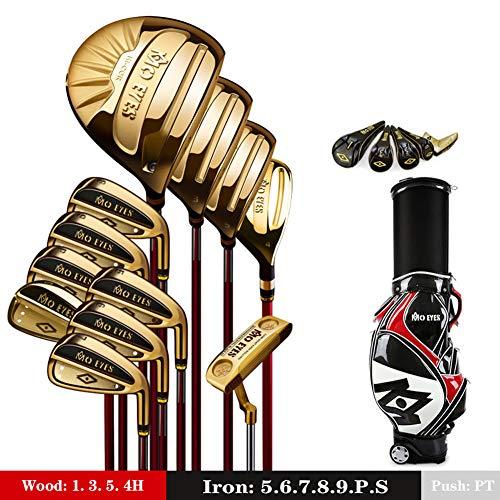 18-teilige Golfschlägersets für Herren, inklusive Titanium Driver, Fairway, Hybrid, 5-PW-Eisen, Putter und Standbag für Herren Arthritic Grip Right,Gold,SR
