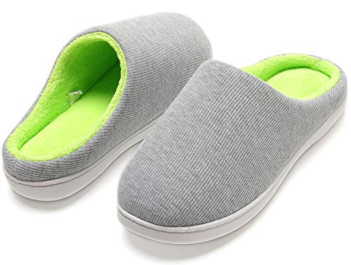 House Slippers for Women, Memory Foam Slippers Two-Tone Non-Slip Fuzzy Slides Cozy Slip On Bedroom House Shoes for Indoor Outdoor Gray/Green 7-8