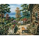 Pintar por Números Kits,Pintar por Numeros para Adultos Niños Pintura al óleo del paisaje de la casa de madera DIY Conjunto Completo de Pinturas para el Hogar Decoraciones-Wooden_Frame_40x50cm E878