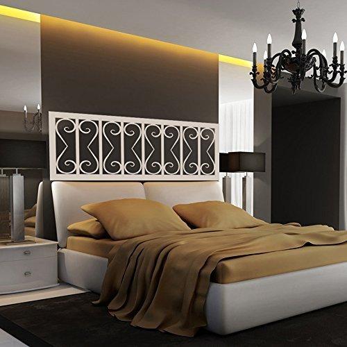 Decoración de cama estilo Shabby Chic Cabecero calcomanía de pared vinilo Arte de pared calcomanía de pared de cama (Queen, Negro).