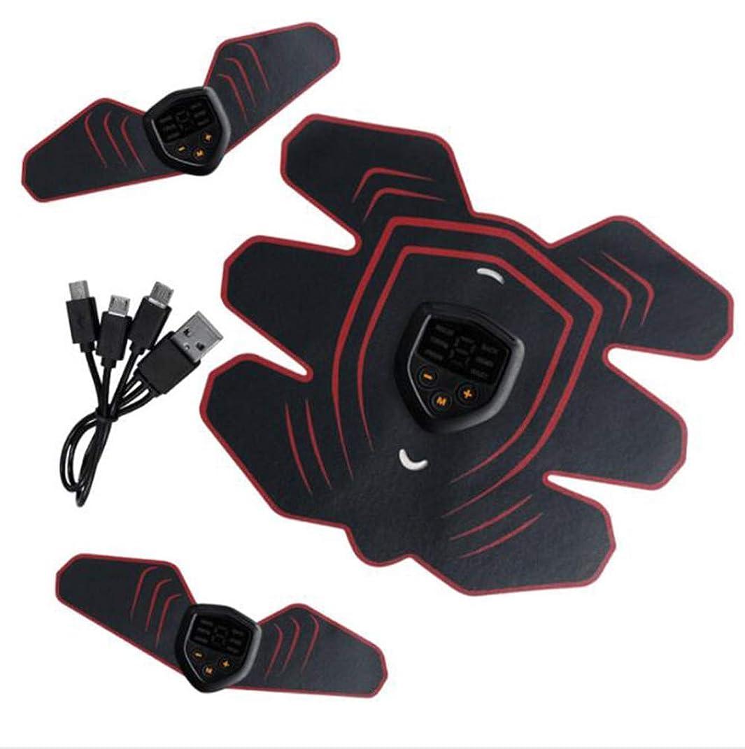 連鎖定期的にアフリカ人GWM 腹部マッサージ筋肉エクササイザ、EMS腹筋筋トレーナ筋肉刺激装置電子筋トレーナー腹部ベルト男性と女性のスマートフィットネス(赤)