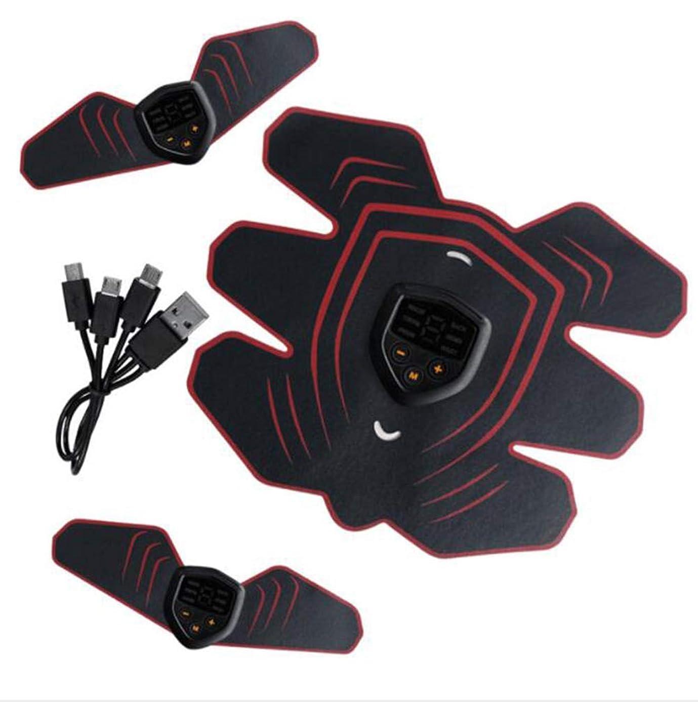 出力保証扇動GWM 腹部マッサージ筋肉エクササイザ、EMS腹筋筋トレーナ筋肉刺激装置電子筋トレーナー腹部ベルト男性と女性のスマートフィットネス(赤)