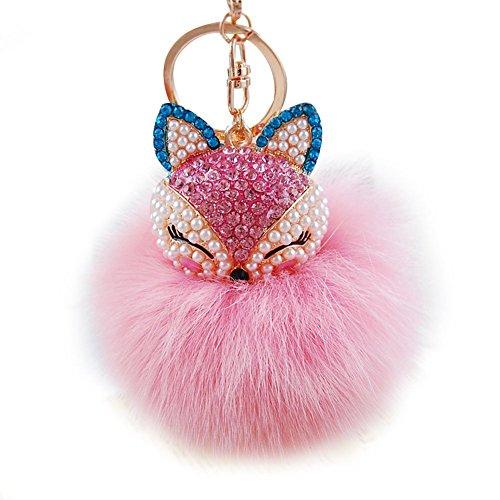 No: 1 hermosa de zorro de peluche con forma de bola de llavero coche Llavero Llave de coche teléfono de bolsa colgante, Rosa