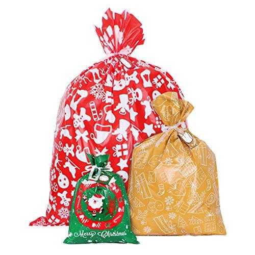 Toyvian Geschenkverpackung Taschen Geschenktaschen für Weihnachten Geschenkbeutel mit Band Krawatten für Xmas Party Süßigkeiten Spielzeug Packung, 24 Stück