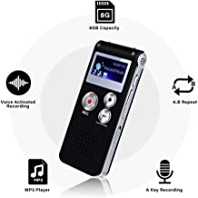 Mini Voice Recorder for Lectures Meetings&Class -JAOK 8GB Digital Activate Audio Tape Recording Device with Double Sensitive Microphone&MP3 Playback