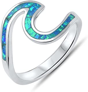 Lab Created Opal Inlay Waves Ring Nautical Surfers Ocean Beach Jewelry .925 Sterling Silver Sizes 4-10