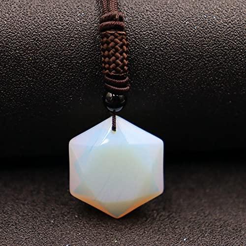 sqxq Colar com pingente de obsidiana natural de seis pontas com pingente de estrela de corrente Swing Energy Stone Jewelry Protein + alça marrom