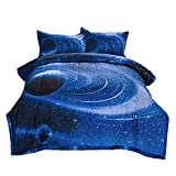 NTBED 3D Galaxy Comforter Sets Outer Space Reversible Quilted Bed Sets Lightweight Ultra Soft Microfiber Bedding for Boys Teen (Blue, Full)