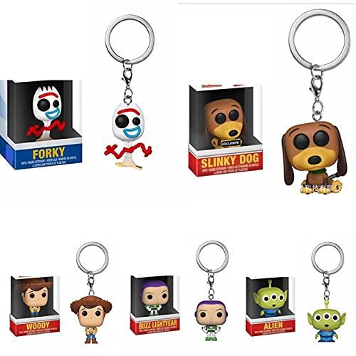 5 Piezas Pop Figuras Llavero Toy Story Woody Alien Buzz Lightyear Forky Slinky Dog Vinilo Figura De Acción 5Cm, PVC Juguetes De Modelos Coleccionables para Niños