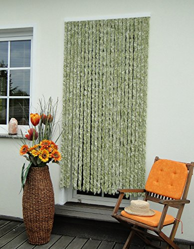 Leguana Handels GmbH - Tenda per porta in ciniglia, 100 x 200 cm, colore: Verde/Bianco