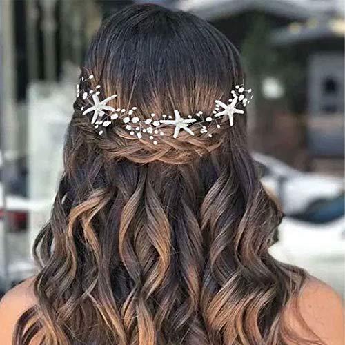 Casdre Starfish Bride Wedding Hair Vine Pearl Bridal Headpiece Beach Wedding Hair Accessories for Women and Girls(A Silver)
