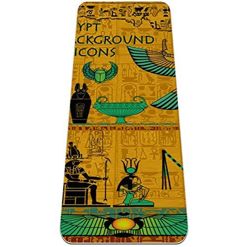 Eslifey Set von antike ägyptische Gottheits-Yoga-Matten, dick, rutschfest, für Damen und Mädchen, Gymnastikmatte, weiche Pilates-Matten, (182,9 x 61 cm, 0,6 cm dick)