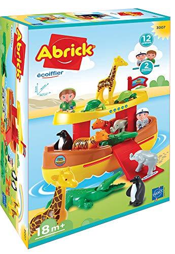 Jouets Ecoiffier- Abrick-L'Arche de Noé-2 Personnages + 11 Animaux-Dès 18 Mois-Fabriqué en France, 3007