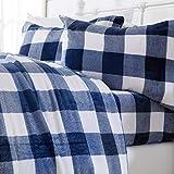 Extra Soft Cozy Velvet Plush Sheet Set. Deluxe Bed Sheets with Deep Pockets. Velvet Luxe Collection (Queen, Buffalo Check - Navy)