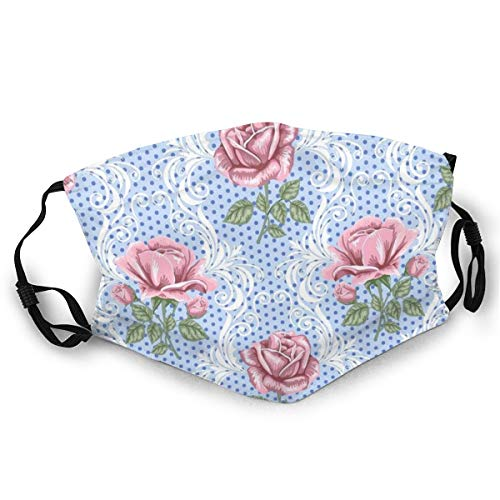 WLYDYS Pink Rose Halloween Adult Dual Front Dustproof Protective Masks Face Mask Mouth Mask Mouth Cover Scarf Mask Camping/Outdoor Washable and Reusable Waterproof for Women