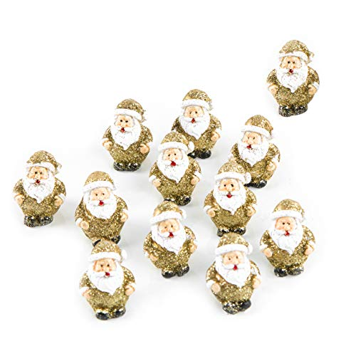 Logbuch-Verlag 12 minifiguras de Papá Noel doradas con purpurina, decoración navideña, regalo para clientes