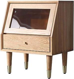 Table Basse Exquise Table de nuit, Luxe chevet Armoire de rangement, Meubles en bois, en verre transparent for voir claire...