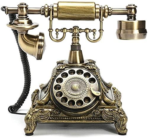 Old Fashioned Telefono Casa Hotel Ufficio Decorazione Vintage Antico Filo fisso Telefono Resina Imitazione Rame Rotante Retro Dial Home Desk Decor Touch Telefono