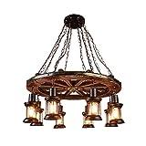 PXY Lámpara Colgante Vintage Industrial de Alta Gama Y Atractiva - Lámpara de Madera de B - Lámpara Colgante de Madera con Personalidad Creativa para Sala de Estar, Restaurante, Dormitorio, Lámpara