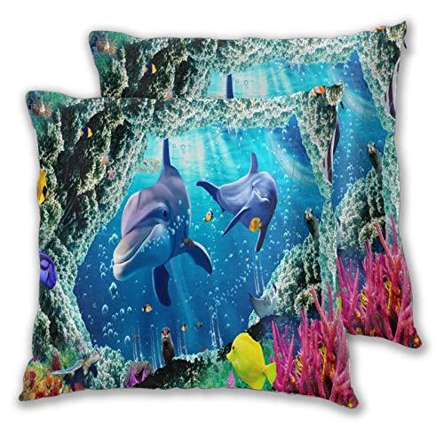 Fundas de cojín, Juego de 2, Magical Wonderful Underwater World Whale TurtDecorative Funda de cojín Cuadrada para sofá Sofá Dormitorio Coche 16 'x 16' en