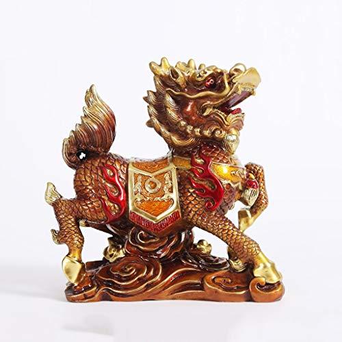 Yuanjiashop Statuen Feng Shui-goldenes Messing Chi Lin/Kylin Reichtum Wohlstand Statue Hauptdekoration Attract Reichtum und viel Glück (5,5