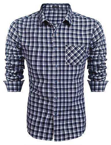COOFANDY Herren Hemd Langarm Kariert Trachtenhemd Kentkragen Regular Fit Freizeit Casual Party Basic Männer Langarmhemden Blau XL