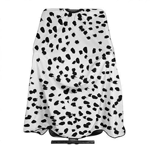 Nadia Tablier de coiffure imperméable avec imprimé animal dalmatien Noir et blanc 140 x 168 cm
