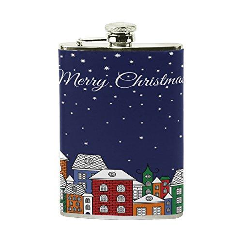 Tizorax de Noël Chats maisons étoiles Lune en acier inoxydable Flasque, poche Pichet, le camping, Pot de vin, cadeau pour homme ou femme, 226,8gram